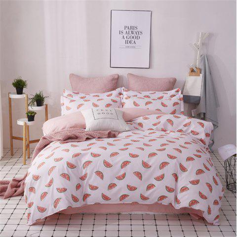 OMONNES Four Sets of Fresh Sheets on The Bed and Summer Watermelon on The Quilt - PINK DOUBLE