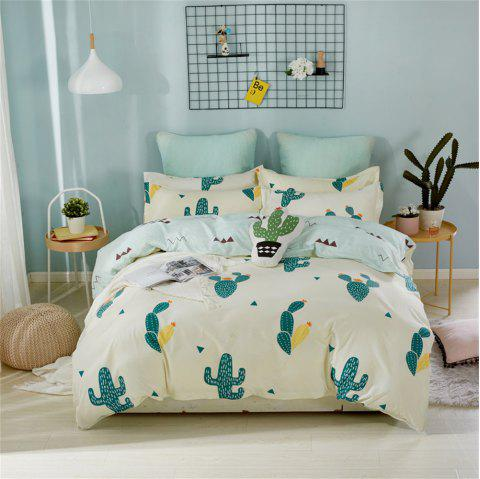 OMONNES Four Sets of Fresh Sheets on The Bed with Cactus - WHITE SINGLE