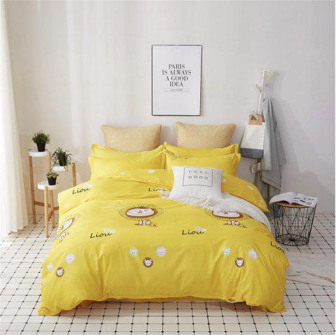 OMONNES Four Simple Bed Sheets Covered with Lions - YELLOW QUEEN SIZE
