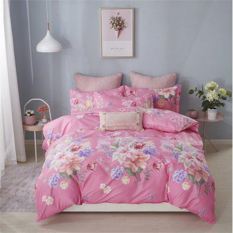 OMONNES Four Simple Bed Sheets Covered with Leaf Rain - DEEP PINK KING SIZE