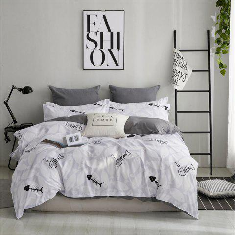 OMONNES Four Sets of Fresh and Simple Bed Sheets on The Bed Catch Fish - GRAY GOOSE TWIN SIZE