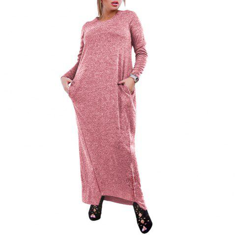 Dress Big Size Elegance Long Dress Women Dresses With Pockets Plus Size Women - PINK ROSE L