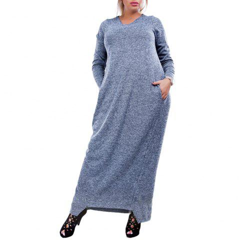 Dress Big Size Elegance Long Dress Women Dresses With Pockets Plus Size Women - SLATE BLUE 2XL