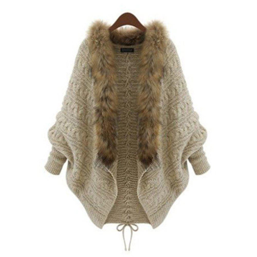 Large-Size Knitted Cardigan with Bat Sleeves and Fur Collar - WARM WHITE ONE SIZE