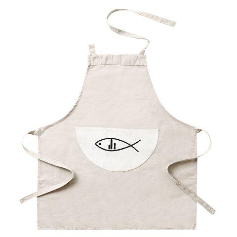 Cotton and linen plain waterproof and oil proof apron - BEIGE