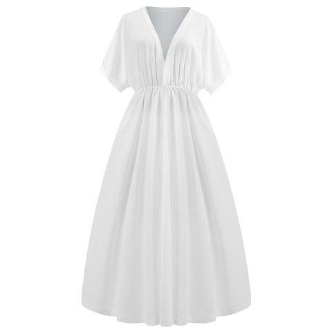 Deep V Collect taille longue robe blanche - Blanc 2XL
