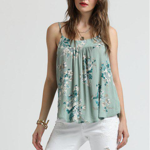 SBETRO Floral Print Pleated Tank Top Female Chiffon - BABY BLUE L
