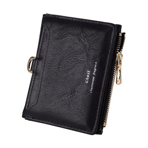New Matte simple Ladies Wallet Casual Fashion Zipper Card Purse - Noir ONE SIZE