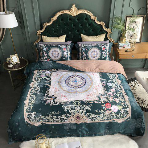 European and American Style 3D Painting Bedding Set - GREENISH BLUE KING SIZE