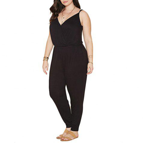 Summer Style Rompers Womens Jumpsuit Solid Plus Size Women Clothing 4XL 5XL 6XL - BLACK 3XL