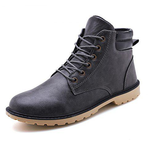 Men Shoes Breathable Soft and Comfortable Lace Up - GRAY EU 41