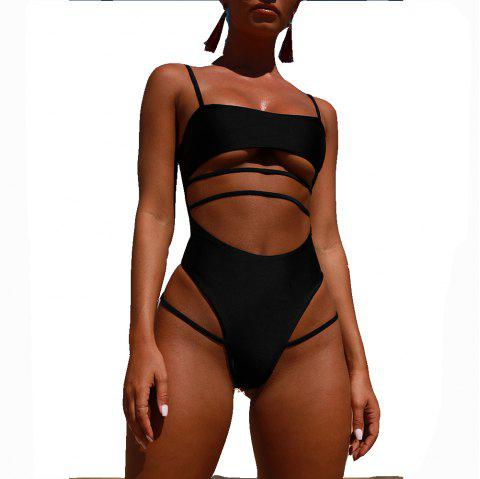 Womens Sexy Strappy Cut Out High Waist Monokini  Swimsuit - BLACK L
