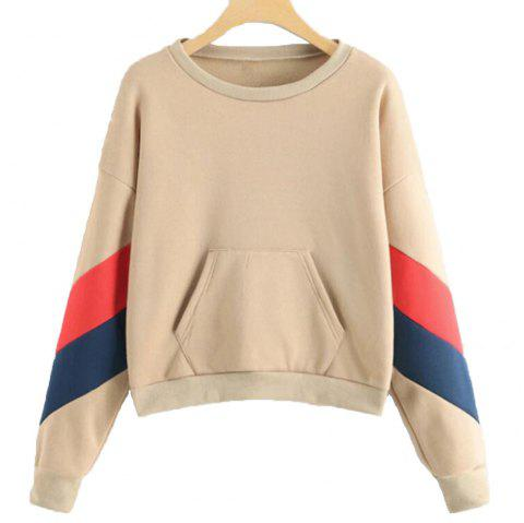 Tricolour Jointed Thick Long Sleeve Hoodie - multicolor C L