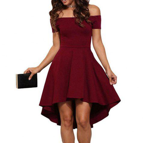 Front Short Back Long Short Sleeve Dress - RED WINE XL