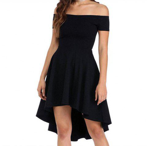 Front Short Back Long Short Sleeve Dress - BLACK M