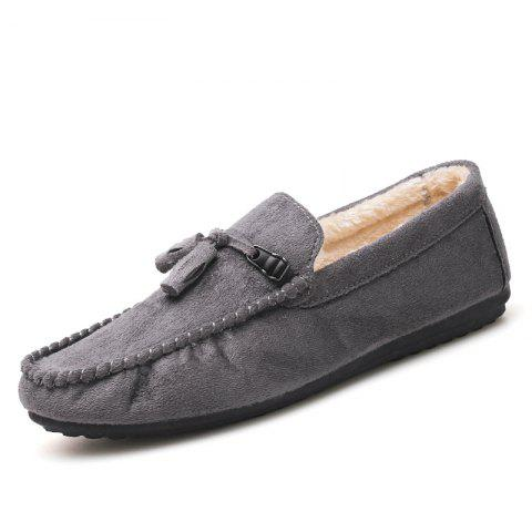 Casual Men Shoes Pendant Version Plus Cotton Warm Winter Peas Loafers - DARK GRAY EU 41
