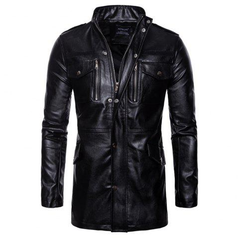 man leather clothing Long style Single color fashion  Windbreaker coat - BLACK L