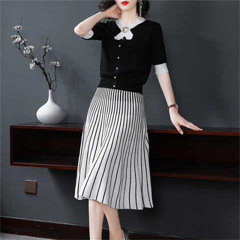 Fashion Top with Half Skirt Two Pieces - BLACK L