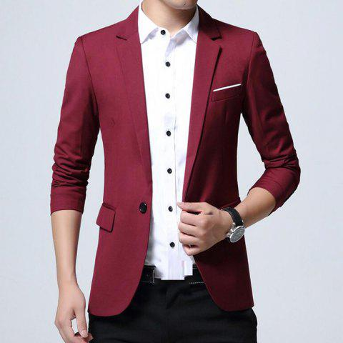 Men's Daily Work Fall Plus Size Regular Blazer Solid Colored V Neck Long Sleeve - RED WINE XL