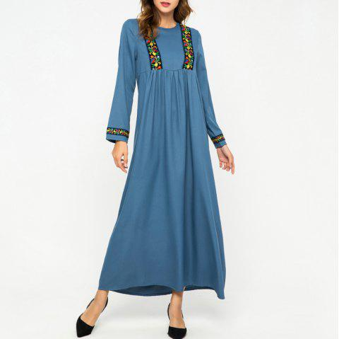 Loose Splicing Floral Long Sleeve Round Neck Dress - BLUE 2XL
