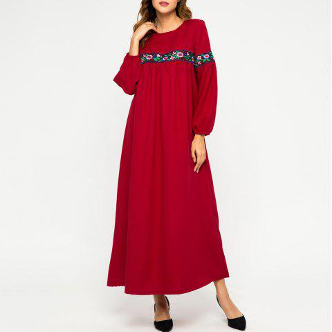 Embroidere Flower Stitching Long Sleeve Loose Large Dress - RED L