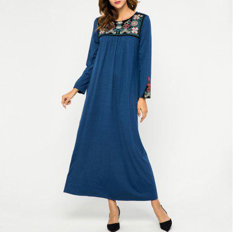 Loose Embroidere Stitching Crew Neck Long Sleeve Dress - BLUE XL