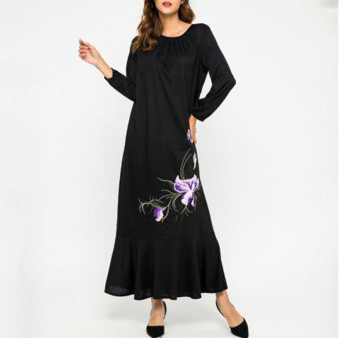 Loose Embroidere Flower Ruffled Long Sleeve Dress - BLACK XL