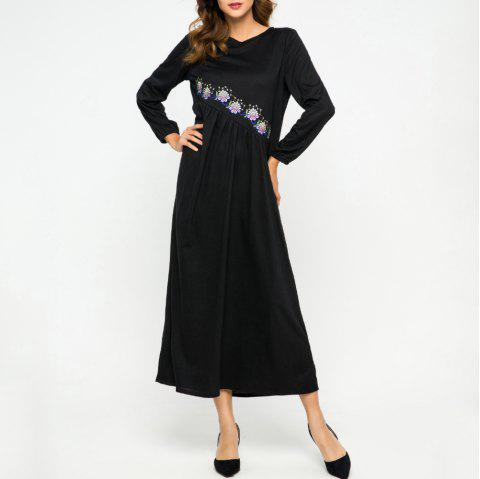 Embroidere Flower Loose Round Neck Dress - BLACK L