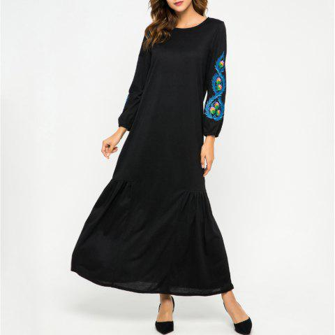 Loose Embroidere Flowers Long Sleeve Dress - BLACK M