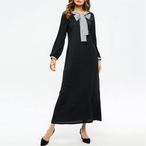 Fashion Stripe Bow Stitching Slim Long Sleeve Dress - BLACK L
