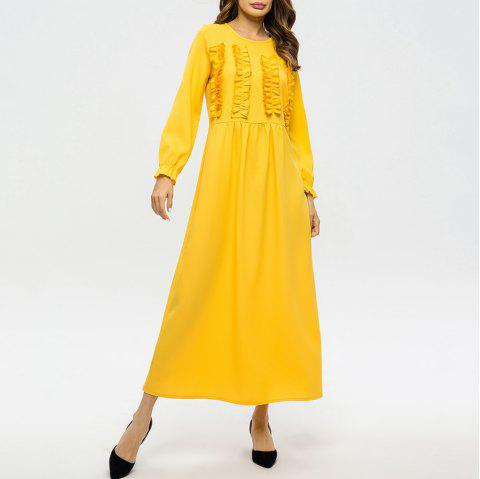 Wooden Ear Bow High Waist Round Neck Solid Color Dress - YELLOW L