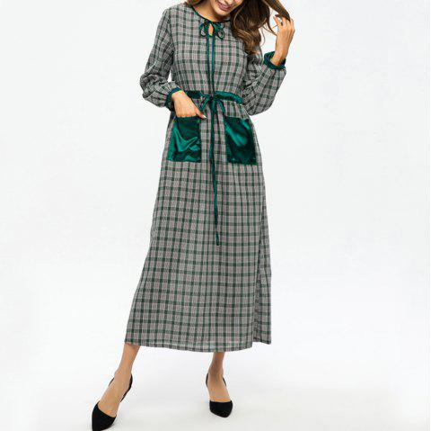 Plaid Stitching Pocket Tie Waist Slimming Dress - GREEN L