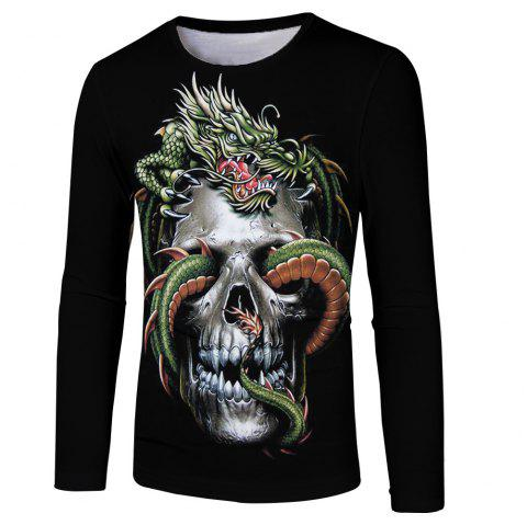 New Men and Women Strange Skull Casual Fashion 3D Printing Long T-Shirt - multicolor M