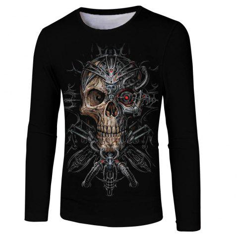 Men and Women New Strange Skull Casual Fashion 3D Printing Long T-Shirt - multicolor XL