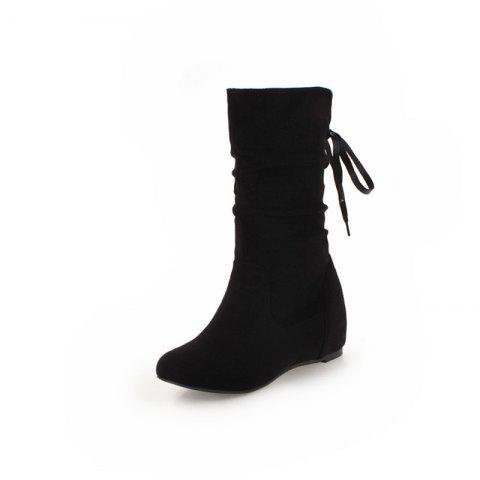 Snow Boots with Lace Up Boots After Wrinkles in Winter - BLACK EU 39