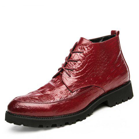 Fashionable Tie-Up Men'S Shoes - RED WINE EU 37