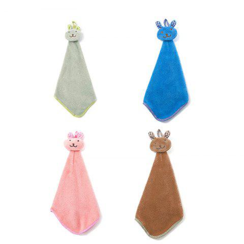 4PCS Lovely Rabbit Kitchen Bathroom Hanging Water Towel - multicolor 4PCS