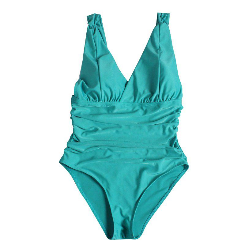 Women One-Piece Swimsuit Swimwear Beachwear Push-Up Bikini Bathing Monokini - AQUAMARINE L