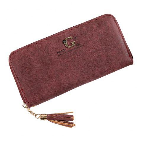 Nouvelle pochette simple pour dames portefeuille portefeuille gland sac à main pochette paquet de cartes - Rouge Vineux ONE SIZE