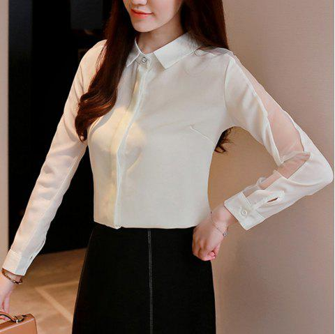 Share Women'S Shirt Trendy Hollow Out Turn Down Collar Long Sleeve Top - WHITE M