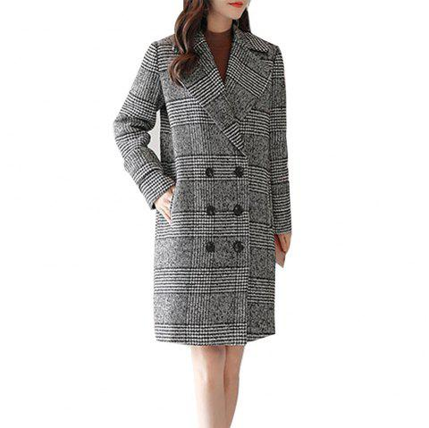 Women's Long Sleeve Notched Collar Houndstooth Pattern Loose Coat - multicolor A M
