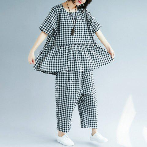 Baggy Plaid Top Haroon Pantsuit - WHITE M