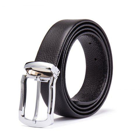 Men 's Head Layer Peau de vache Mode Simple Ceinture Pin Alliage - Noir 115CM