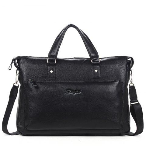 Head Layer Cowhide Man Business Casual Briefcase Single Shoulder - BLACK S