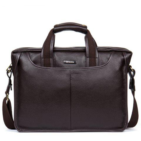 Top Layer Cowhide Laptop Briefcase Business Bag - BROWN