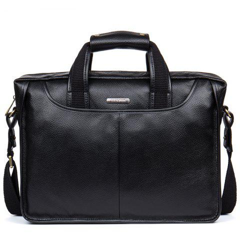 Top Layer Cowhide Laptop Briefcase Business Bag - BLACK