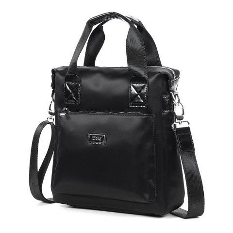 Cowhide with Waterproof  Cloth Portable Single Shoulder Bag - BLACK