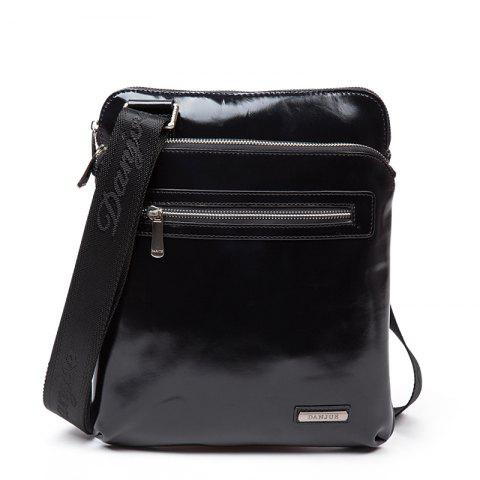 Full Cowhide Ultra-Thin Type Single Shoulder Slant Slant Men'S Bag - BLACK