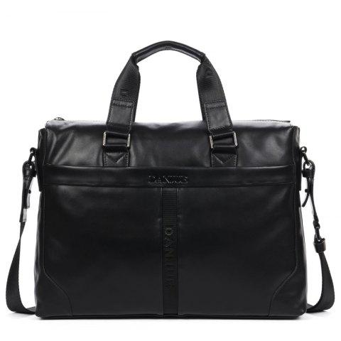 Full Head Layer Cowhide Official Document Portable Business Men'S Bag - BLACK