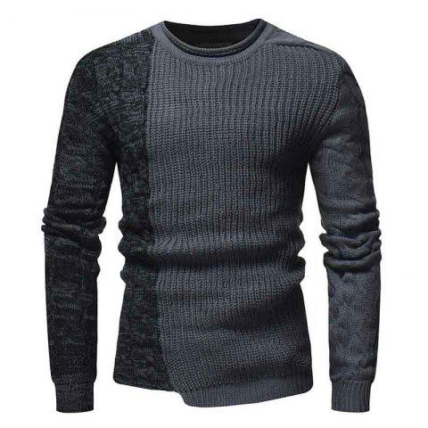 Men'S Fashion Round Neck Personality Color Matching Headband Slim Sweater - GRAY XL